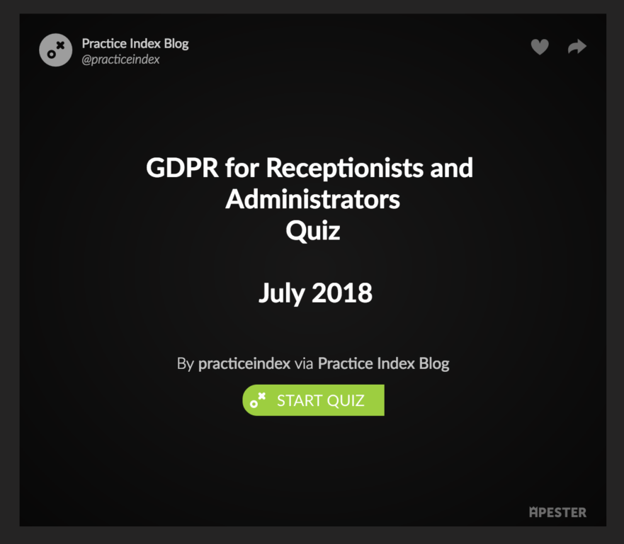 GDPR for GP receptionists and administrators – Quiz