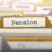 Pension Concept on File Label in Multicolor Card Index. Closeup View. Selective Focus.
