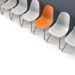 Row of chairs with one odd one out. Job opportunity. Business leadership. recruitment concept. 3D rendering