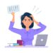 Stressed and frustrated business woman asking for help at work. Cartoon vector illustration